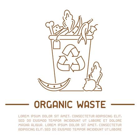 Informationsplakat für organische Abfälle. Linienstil-Vektor-Illustration. Es ist Platz für Ihren Text