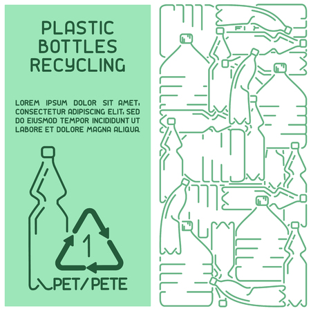Plastic bottles recycling information card. Concept booklet. Line style vector illustration. There is place for your text