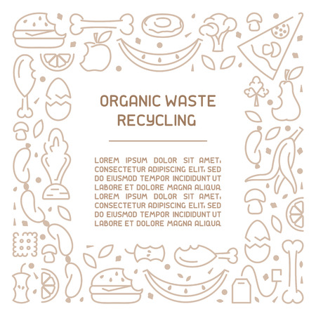 Organic waste information poster. Line style vector illustration. There is place for your text Reklamní fotografie - 112260478