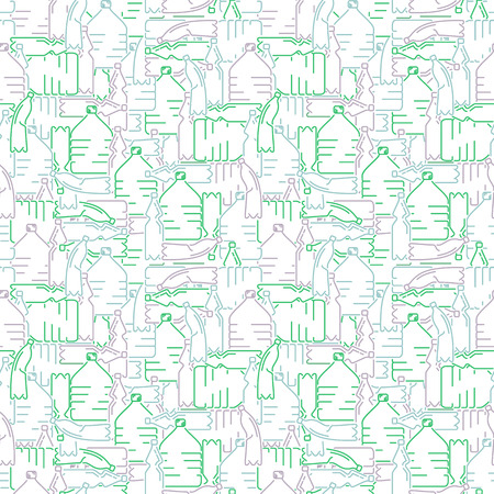 Seamless pattern with plastic bottles. Line style vector illustration Vectores