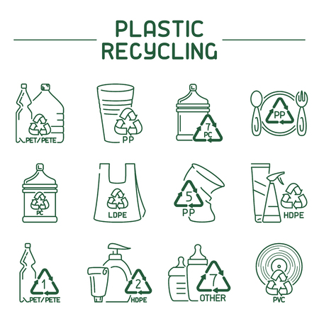 Plastic products with markings. Linear icons set.