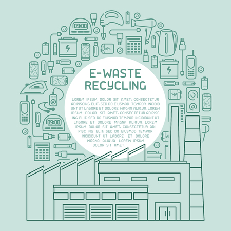 E-waste recycling info poster ready concept. Line style vector illustration. There is place for your text Illustration