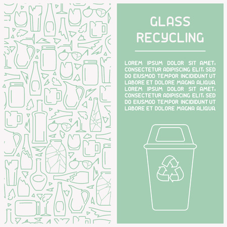 Glass waste recycling information booklet. Line style vector illustration. There is place for your text