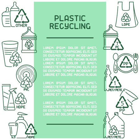 Plastic products recycling information card. Line style vector illustration. There is place for your text Vettoriali