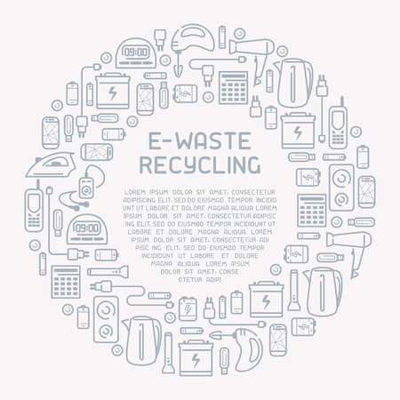 E-waste ready concept with old appliances and inscription. E-waste icons set. Line style vector illustration. There is place for your text