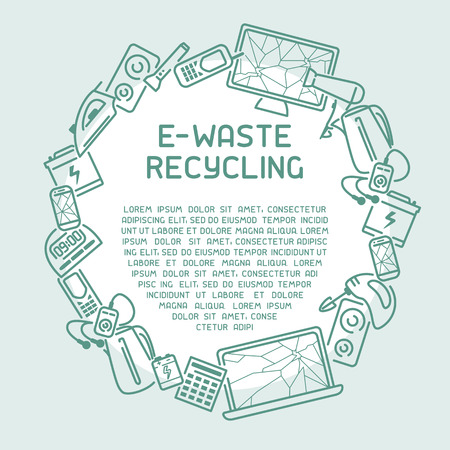 E-waste ready template with old appliances and inscription. Line style vector illustration. There is place for your text Illustration
