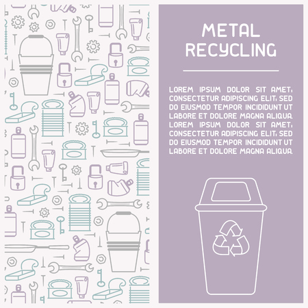 Metal waste recycling information booklet. Line style vector illustration. There is place for your text Illustration
