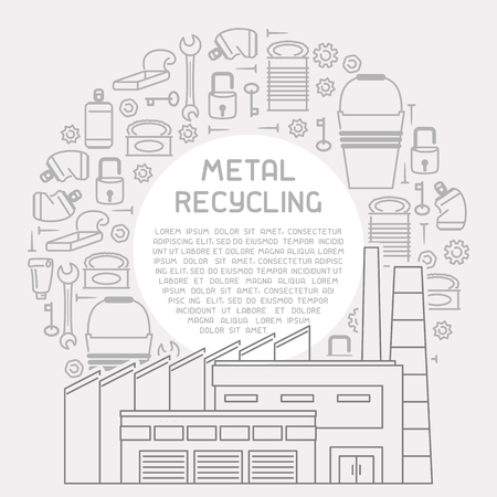 Placard with metal trash, processing plant and sample text. Linear style vector illustration