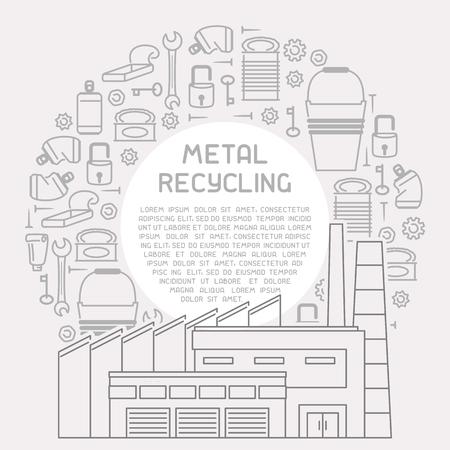 Plaque avec déchets métalliques, usine de traitement et exemple de texte. Illustration vectorielle de style linéaire