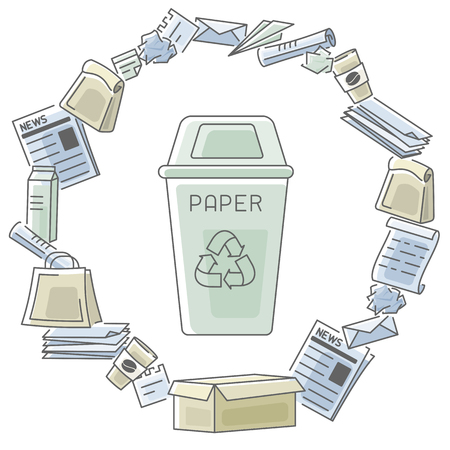 Card with waste paper and trashcan. Contour and fill style vector illustration