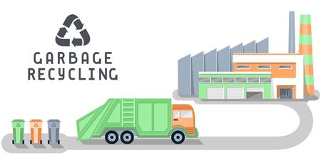 공장, 쓰레기 트럭이 있는 쓰레기 재활용 삽화. 평면 스타일 벡터 일러스트 레이 션