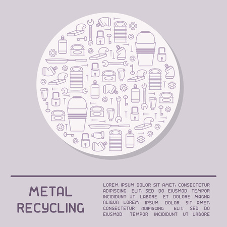 Metal waste information poster. Line style vector illustration. There is place for your text