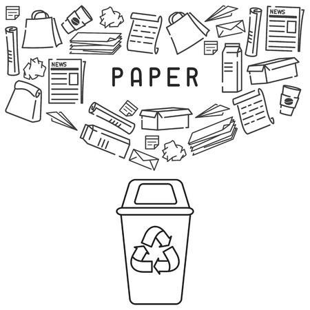 Carta di riciclaggio della carta con cestino di carta. Illustrazione vettoriale di stile contorno