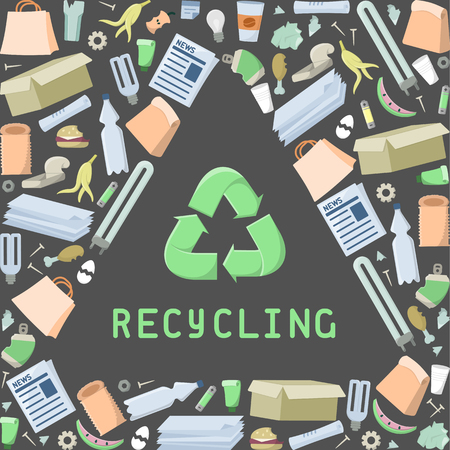 Recycling diagram with trash and lettering. Flat style vector illustration