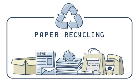 Paper recycling illustration with trash and lettering. Linear style vector illustration.