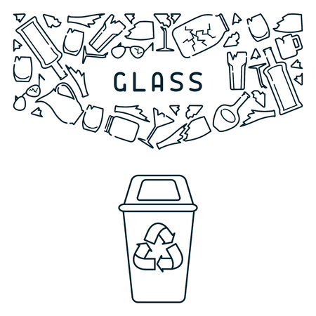 Glass recycling card with trash, dustbin and lettering. Linear style vector illustration. 일러스트