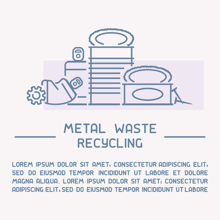 Metal waste recycling information poster with sample text. Line style vector illustration Illustration