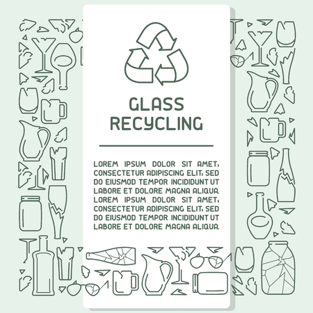 Glass waste recycling information poster. Line style vector illustration. There is place for your text