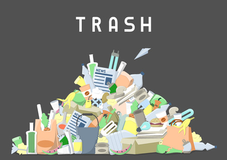 littering waste pile. flat style vector illustration Vettoriali