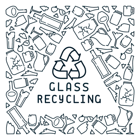 Glass recycling card with trash and lettering. Linear style vector illustration. There is a place for your text