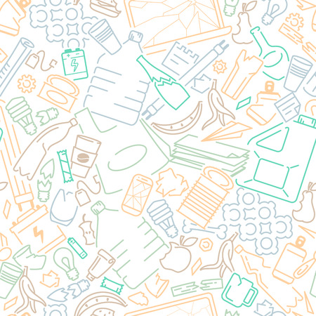 Seamless pattern with diffrenet types of household waste. Contour style vector illustration