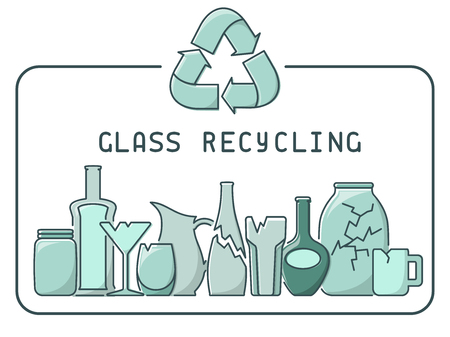 Glass recycling illustration with trash and lettering. Linear style vector illustration.