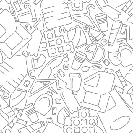 Seamless pattern with plastic waste. Line style vector illustration