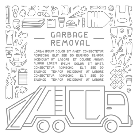 Garbage removal information placard with sample text, different types of trash and dustcar. Linear style. Иллюстрация