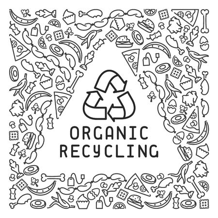 Organic trash illustration with garbage. Linear style vector illustration. Vektorové ilustrace