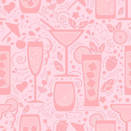 Seamless pattern with different drinks and decoration elements. Flat style vector illustration. Suitable for wallpaper, wrapping, textile or bar menu design