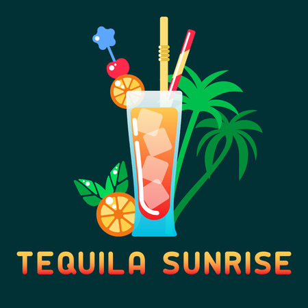 Alcohol cocktail Tequila Sunrise with decorations and name. Flat style vector illustration. Suitable for advertising, applications, menu design or web