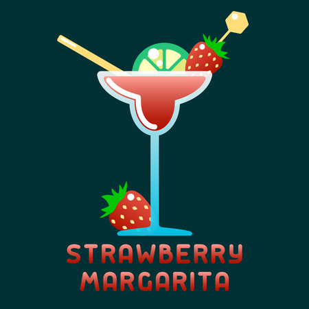Tropical cocktail strawberry margarita with decorations and name. Flat style vector illustration. Suitable for advertising, applications, menu design or web 일러스트