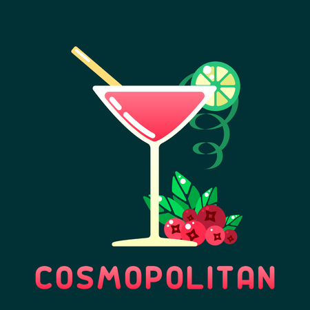 Alcohol cocktail cosmopolitan with decorations and name. Flat style vector illustration. Suitable for advertising, applications, menu design or web  イラスト・ベクター素材