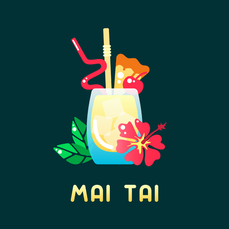 Tropical cocktail mai tai with decorations and name. Flat style vector illustration. Suitable for advertising, applications, menu design or web