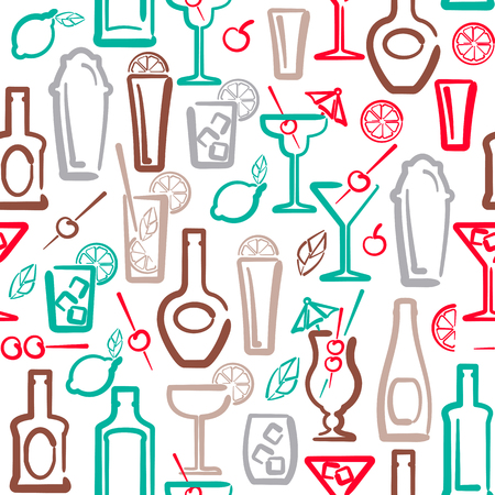 Alcohol drinks elements seamless pattern with bottles and cocktails. Ink contour style vector illustration. Suitable for wallpaper, wrapping or textile