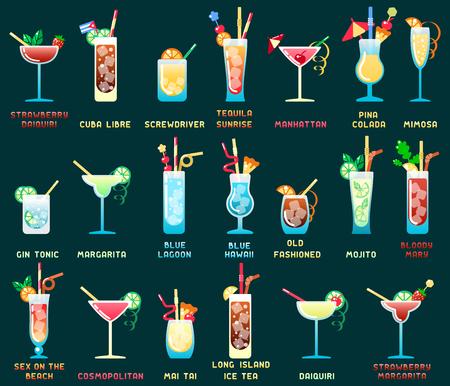 Set di cocktail alcolici diversi tipi con nomi. Illustrazione vettoriale di stile piano. Adatto per la progettazione di menu bar, pubblicità, applicazioni o web