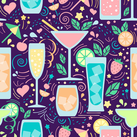 Seamless pattern with different beverages. Flat style vector illustration. Suitable for wallpaper, wrapping, textile or bar menu design Ilustrace
