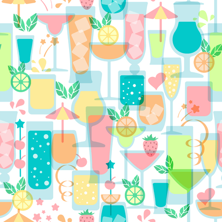 Seamless pattern with different types of drinks. Flat style vector illustration. Suitable for wallpaper, wrapping, textile or bar menu design