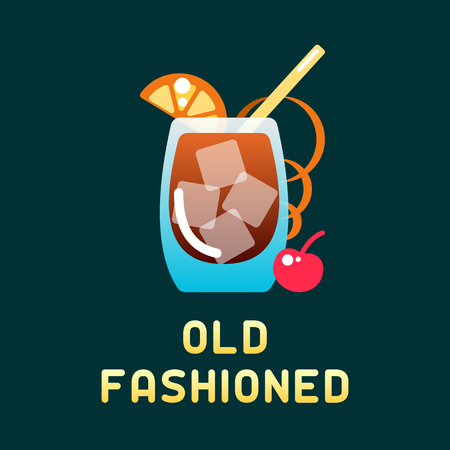 Alcohol cocktail old fashioned with decorations and name. Flat style vector illustration. Suitable for advertising, applications, menu design or web