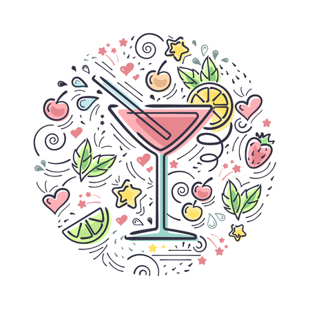 Vector card with cosmopolitan cocktail and decoration elements. Suitable for bar menu design, advertisign or textile print