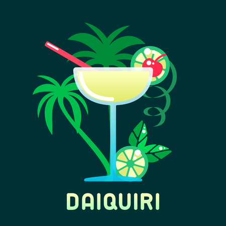 Alcohol cocktail daiquiri with decorations and name. Flat style vector illustration. Suitable for advertising, applications, menu design or web  イラスト・ベクター素材