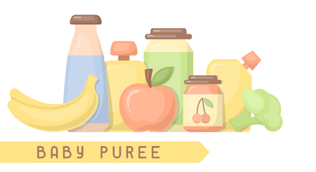 Baby food card with inscription. Flat style vector illustration. Suitable for advertising