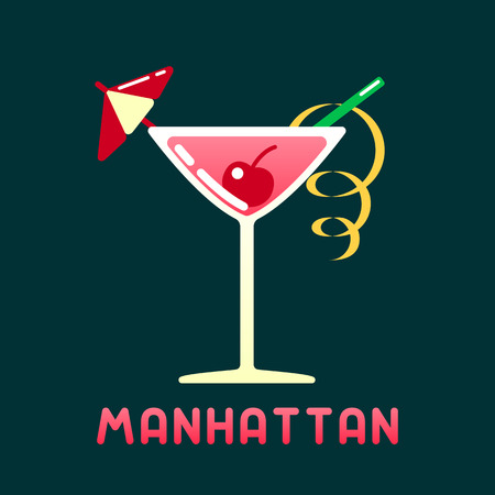 Alcohol cocktail manhattan with decorations and name. Flat style vector illustration. Suitable for advertising, applications, menu design or web