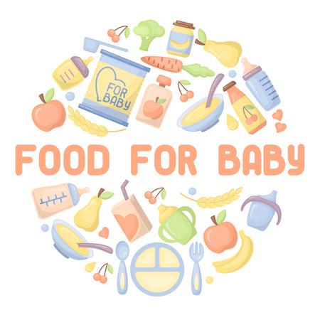 Ensemble d'icônes de nourriture pour bébé. Illustration vectorielle de style plat. Convient pour la publicité