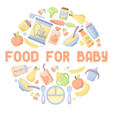 Food for baby icons set. Flat style vector illustration. Suitable for advertising