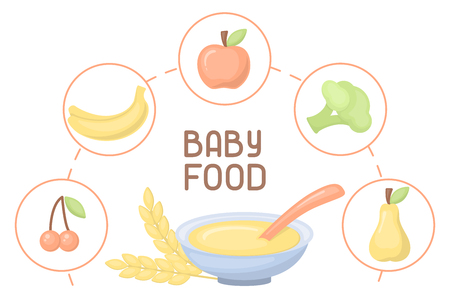 Baby food card. Flatr style vector illustration. There is place for your text