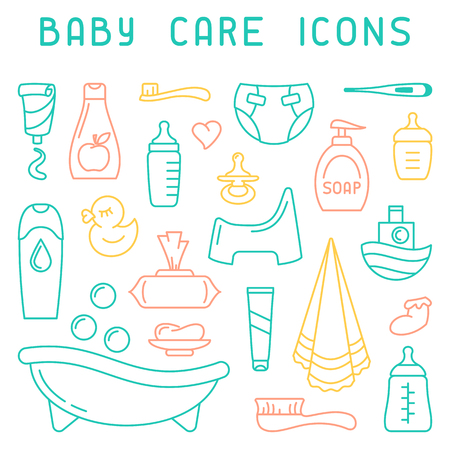 Baby care icons collection. Linear style vector illustration. Baby hygiene accessories.