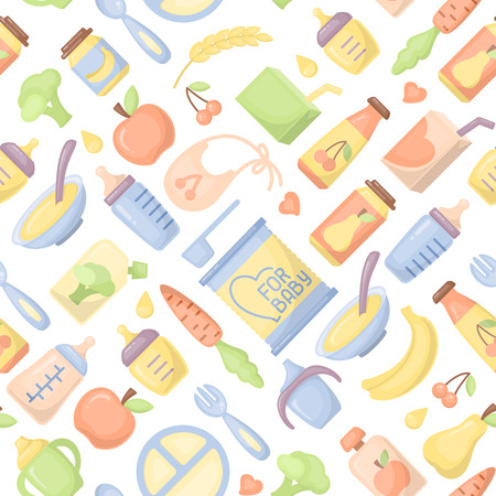 Baby food seamless pattern. Flat style vector illustration. Suitable for wallpaper, wrapping or textile
