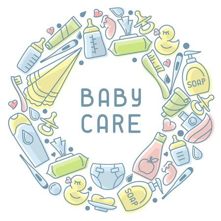 Baby hygiene elements. Linear style vector illustration. Baby care accessories. Suitable for advertising. There is place for your text