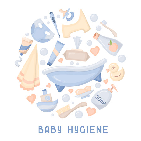 Baby hygiene icons collection. Flat style vector illustration. Baby care accessories. Suitable for advertising Stock Illustratie